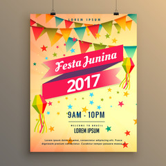 festa junina party celebration poster design with decorative elements