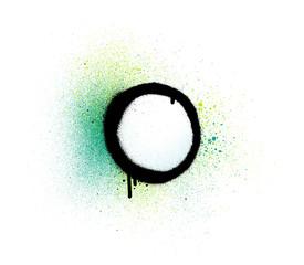 graffiti sprayed ring circular shape over green