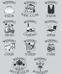 Vector set of wedding pictograms. Black outline marriage celebration symbols and isolated icons for web site design and mobile apps. Black and white