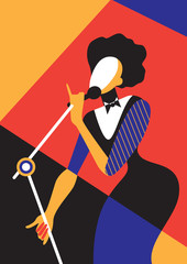 Singing woman / Creative conceptual vector. Singing woman.