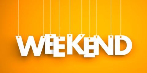 Weekend - white word on orange background. 3d illustration