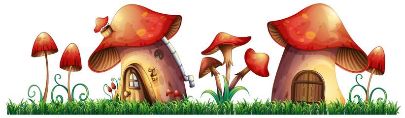 Mushroom houses in garden