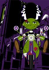 Frankensteins Monster on Scooter