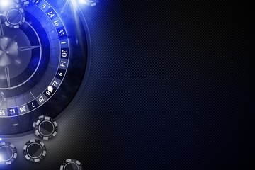 Glowing Blue Roulette Game