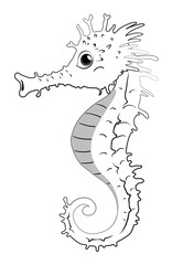 Doodle animal for seahorse
