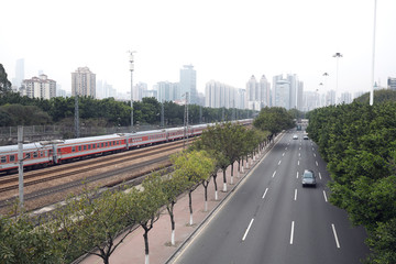 Railway beside the road
