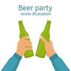 Beer party. Two mans holding in hands the beer bottles. Toast. Drinking alcoholic beverages. Friday party. Vector illustration flat design. Isolated on white background. Drinking together.