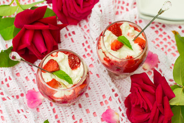 Dessert with sweet cottage cheese ricotta and strawberries