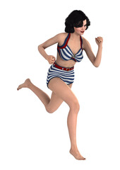 3D Rendering Pinup Girl on White