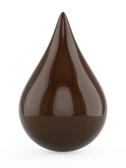 3D rendering Chocolate dark drop isolated on white background