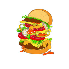 Vector illustration of a fantastic hamburger. Bun, cutlets, tomatoes, tomatoes, ketchup, onions, lettuce, greens