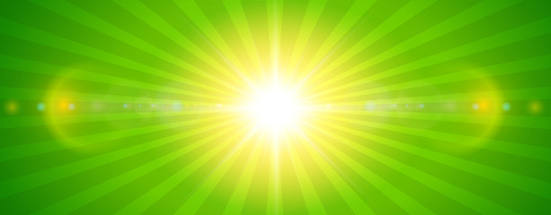Sunny background, green sun with lens flare Wall mural