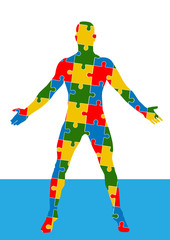 Puzzle human body. Man silhouette