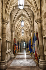 Interior view of National Cathedral in Washington. The Cathedral is listed on National Register of Historic Places