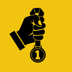 Gold medal with ribbon in hand black silhouette. Sportsman winner is awarded prize for the first place. Vector illustration flat design style. Pictogram victory isolated on yellow background.