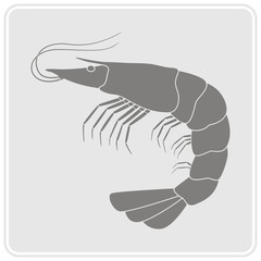 monochrome icon with prawn for your design