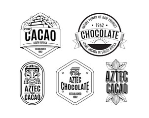 Vector illustration aztec cacao pattern for chocolate package design