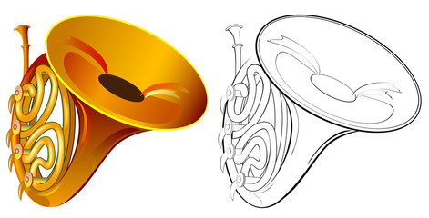 Colorful and black and white drawing of French horn. Worksheet for coloring.  Vector cartoon image.