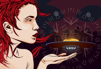 Woman, alien ship, time machine and alien face. Vector image.