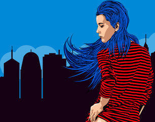 Woman near window with view on the night city. Long red hair. Vector image.