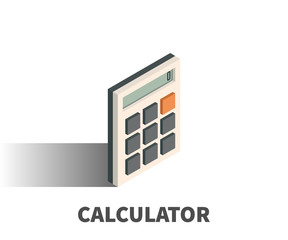 Calculator icon, vector symbol in isometric 3D style isolated on white background.