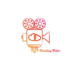 Template logo for video services. Wedding video concept