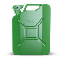 Green metal jerry can