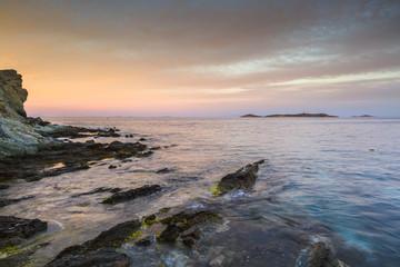 Beach in Vaporia district of Ermoupoli town on Syros island.