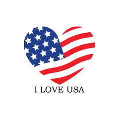 I Love USA logo template