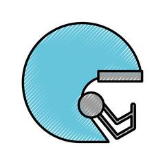 cute scribble blue football helmet cartoon vector graphic design