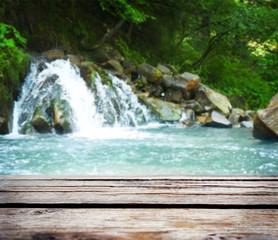 Beautiful waterfall in the Carpathian mountains