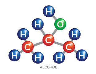 alcohol molecule structure . vector and icon