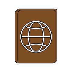 Flat line passport design over white background vector illustration