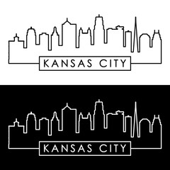 Kansas City skyline. Linear style. Editable vector file.