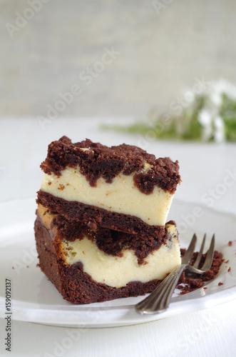 Russischer Zupfkuchen Schoko Quark Kuchen Vom Blech Stockfotos