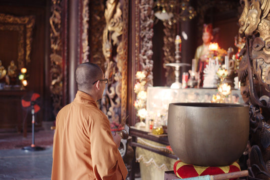 Can Tho, Vietnam - November 15, 2014: Altar of vietnamese buddhism temple