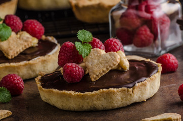 Chocolate tartalets with nuts