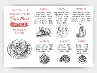 Vector illustration sketch - breakfast. Card Menu brunch. design template, banner.