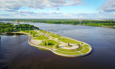 Famous Strelka park in place of confluence of Kotorosl and Volga rivers in Yaroslavl, Russia