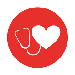round icon heart stethoscope vector graphic design