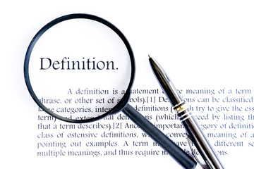 definition text focus word on white background Wall mural