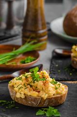 Scrambledd eggs with chive and chilli