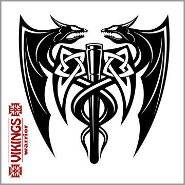 dragons and axe - viking emblem - vector illustration