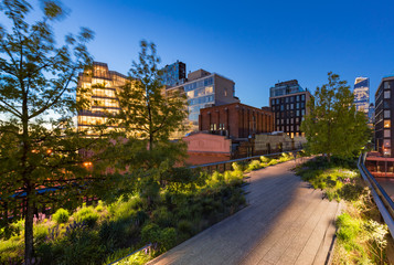 The Highline (High Line Park aerial greenway) at twilight in summer. Chelsea, Manhattan, New York City