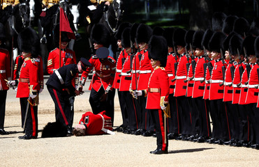 A guardsman faints during the Colonel's Review ceremony at Horse Guards Parade in London