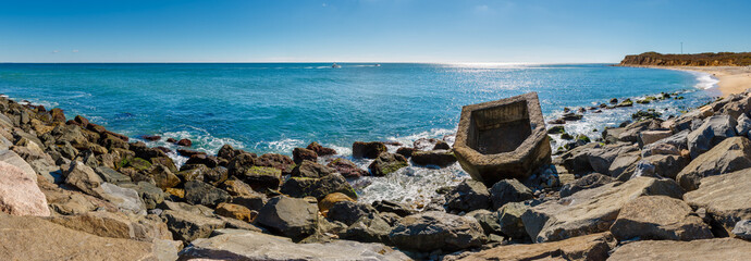 Panoramic view of Montauk Point State Park beach and the Atlantic Ocean. Long Island, New York State