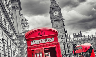 London symbols with big ben, double decker bus and red phone booth