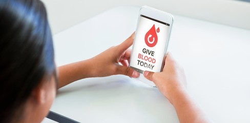 Composite image of give blood today text with icons on screen