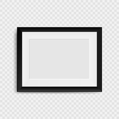 Blank photo frame on the wall. Realistic blank picture frame.