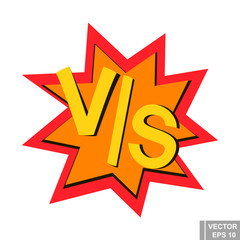 Vs. A simple vector logo on the background of the explosion. The battle.